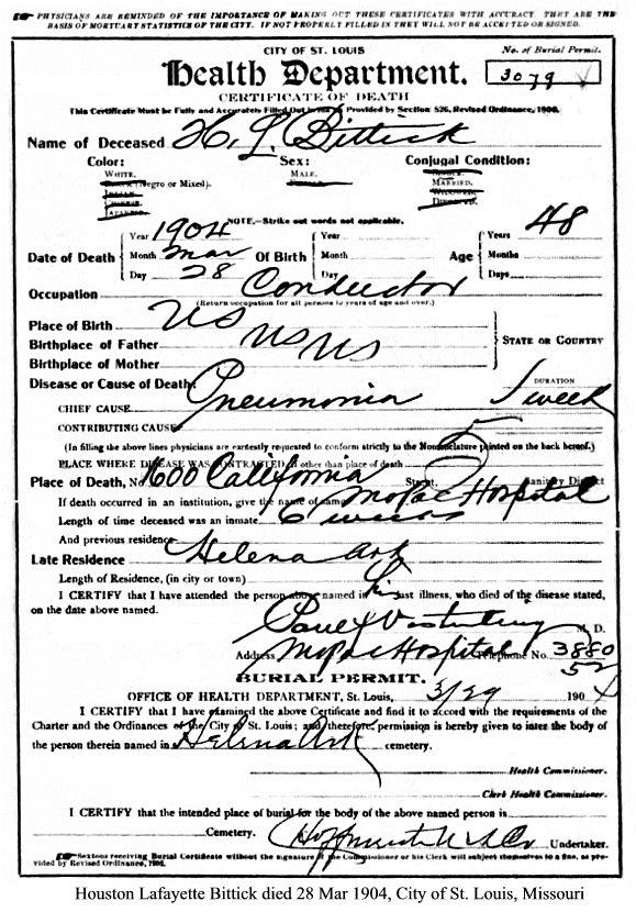 Houston Lafayette Bittick Death Certificate