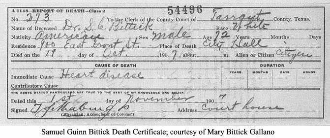 Samuel Guinn Bittick Death Certificate